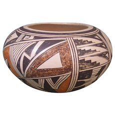 Hopi Bowl, Polychrome Design, Signed Evelyn Poolheco