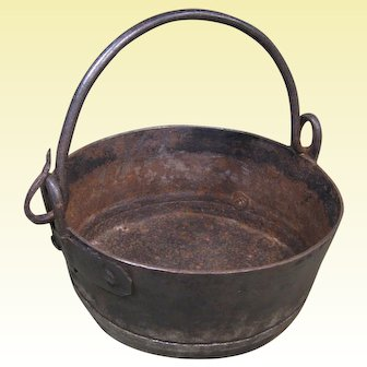 18th Century Hand Wrought Iron Pot with Forged Iron Handle