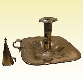 18th Century Brass Pushup Chamberstick and Candle Snuffer