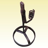 18th Century Wrought Iron Spiral Candlestick with Rushlight Holder