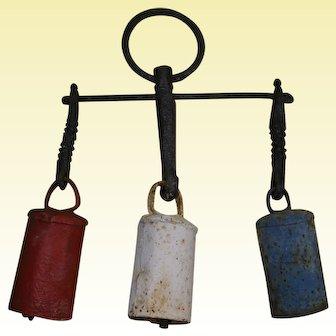 Three Primitive Rustic Iron Bells on Wrought Iron Hanger