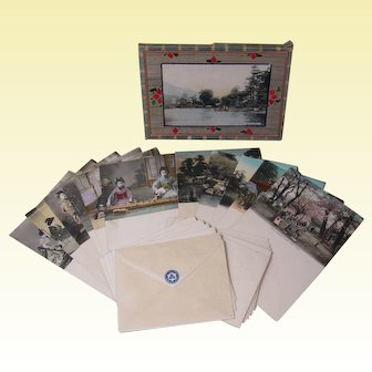 Early 1900s Old Japan Hand Tinted Note Cards, Original Box, A. A. Vantine & Co.