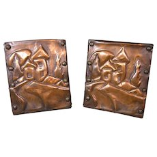 1930s Art Deco Bookends, Hammered Copper