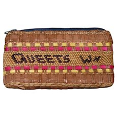 """Native American Basket Purse, Quinault, """"QUEETS WN"""", Whaling Canoe"""