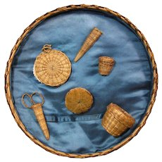 Early 1900s Native American Set of Sweetgrass Baskets - Sewing Accessories