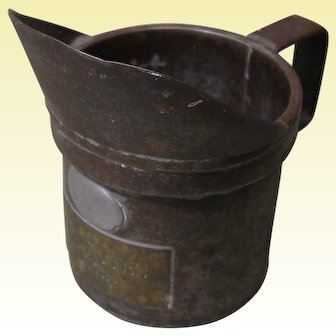 19th Century Measuring Cup, 1 DeciLiter, Iron, Brass, Pewter