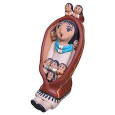 """Jemez Pueblo Storyteller with 8 Children, by Felicia Loretto, 6"""" tall"""