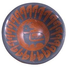 Miniature Jemez Pottery Bowl, Feathers & Bird Design, Cornstalk Hallmark
