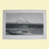 "1874 Steel Engraving, ""Mount Hood, from the Columbia"", Hand-Tinted"