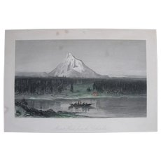 """1874 Steel Engraving, """"Mount Hood, from the Columbia"""", Hand-Tinted"""