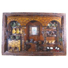 Vintage Mexican Diorama, Miniature Pottery, Fireplace, Our Lady of Guadalupe, and More
