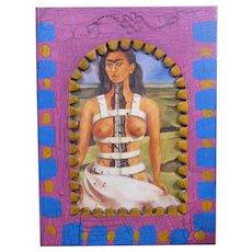 "Vintage Frida Kahlo Print ""The Broken Column"", in Painted Metal Frame, Mexico"