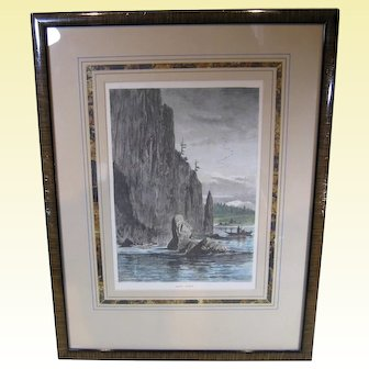 "R.S. Gifford's ""Cape Horn"", 1872 Hand-Colored Wood Engraving, Framed"