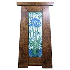 Motawi Tile, Amaryllis (China Blue) in Craftsman Oak Frame