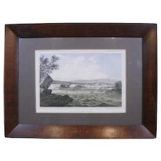 """c.1860 Hand-Colored Lithograph """"Cascades of the Columbia"""" in Period Frame"""