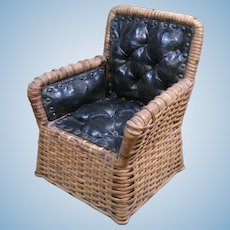 c.1910 Miniature Wicker Armchair with Tufted, Padded Seat
