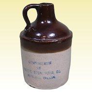 """Pacific Stoneware Mini Jug, """"Compliments of Pacific Stoneware Portland, Oregon"""""""