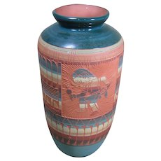 Navajo Sgraffito Vase,  Signed, Dancer and Feather Design