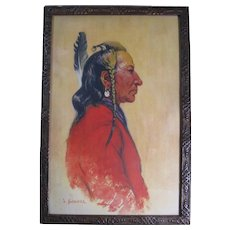 Early 1900s Signed Joseph Scheuerle Native American Print, Framed