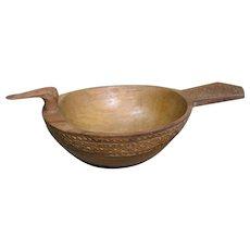 Vintage Chip Carved Wooden Duck Bowl