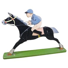 Circa 1930s Folk Art Race Horse and Jockey, Painted Wood