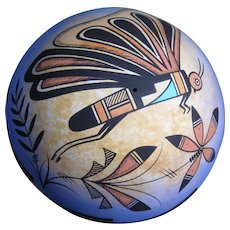Navajo Pottery Seed Pot, Butterfly Design, by Westly Begaye
