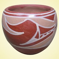 "Santa Clara Pueblo Pot, Avanyu Water Serpent, Signed ""Marie"""