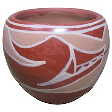 "Santa Clara Pueblo Pot, Avanyu Water Serpent, Signed ""Marie"""