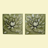 Two circa 1890s American Encaustic Tiles, Water Lilies