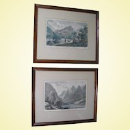 Two 19th Century Hand-Colored Steel Engravings, Scenes from Norway, Framed