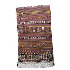 """Central Anatolia Kilim, Turkish Rug with Tags, 2 ft 4"""" by 4 ft"""