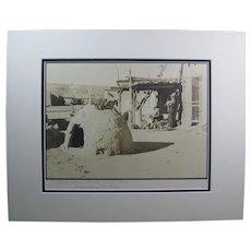 "Circa 1900 Original Sepia Tone Photograph, ""Santa Clara Pueblo Indian Home, Espanola, N.Mex."""