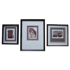 Southwest Pueblo Original Art - Three Framed Collages, Signed