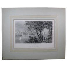 """1872 Steel Engraving """"City of St. Louis"""", Mat and Backing Board"""