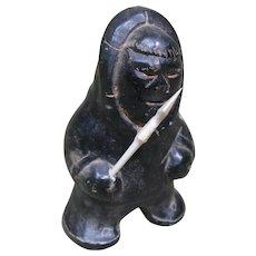 Small Carved Dark Stone Inuit Figure