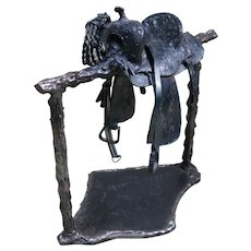 Metal Sculpture - Western Saddle on Hitching Post, Signed and Dated