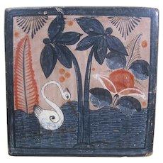 Vintage Tonala Pottery Tile, Bird and Florals
