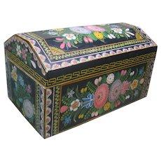 Vintage Olinalá Guerrero Mexico Dome Top Box, Lacquerware  & Painted Florals