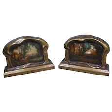 Art Nouveau Bookends with Gold-Painted Pie Crust Frames