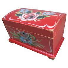 Miniature Swedish Hand Painted Wooden Chest, Inscription, Dated 1943