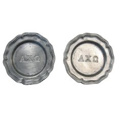 Two Vintage Miniature Pewter Plates Marked AXΩ (Alpha Chi Omega), CCC Meriden