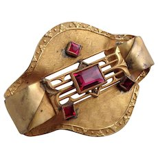 Vintage George Steere GNS Ruby Glass Art Nouveau Sash Pin Brooch Jewelry