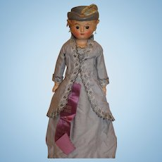 Wax over Composition Doll with Molded Hat, 14 inches