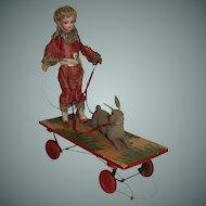 Amusing Jumeau Doll Toy, Rabbit Jump through Hoop, French C. 1880's