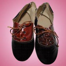Antique Dolls Shoes, Large Size, Lace Ups, 4 inches