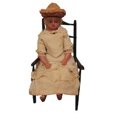 A Sweet Antique English Poured Wax Doll, circa 1870's, 17 inches
