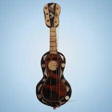 An Antique Miniature Guitar for a Fashion Doll Room Setting, Needs TLC
