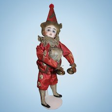 Fun Antique French FG Polichinelle, Clown Hand Toy Doll, All Original, 14 inches