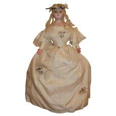 Museum Quality Mint Wax over Paper Mache Bride Doll, English c 1860's. 19 inches