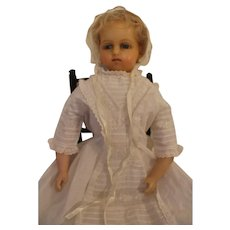 Antique Marked Lucy Peck Poured Wax Doll, English c. 1870's, 20 inches